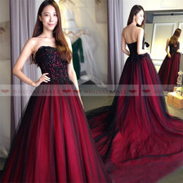 Red black sleeveless gothic pRom dRess online shopping - 2019 Black Tulle Gothic Evening Dresses Lace Up Back Burgundy Long Prom Dress Court Train Formal Party Gowns Ball Custom Made robe de soiree
