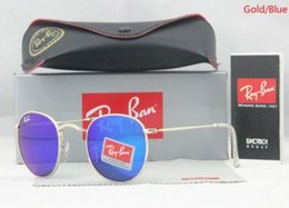 $enCountryForm.capitalKeyWord NZ - Discolour Glass Lens Sunglasses Men Women Circle Sun Glasses Brand Designer High Quality Eyewear Round 51MM Goggle Mirror With box Case