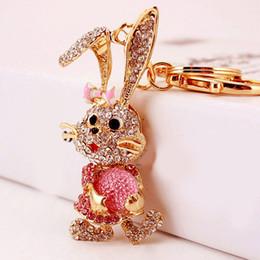 handbags rhinestones 2019 - Rabbit Crystal Rhinestone Handbag Charm Pendant Keychain Bag Keyring Key Chain cheap handbags rhinestones