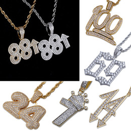$enCountryForm.capitalKeyWord Australia - Gold & White Gold Plated CZ Cublic Zirconia Digital Numbers Pendant Chain Necklace Lots Styles Hip Hop Rapper Jewelry Gifts for Men & Women
