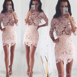 $enCountryForm.capitalKeyWord Australia - 2019 Fashion Pink Lace Sheath Cocktail Dress Vintage High Neck 3 4 Sleeves Formal Holiday Club Homecoming Party Dress Plus Size Custom Make