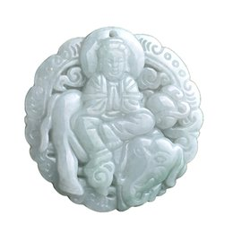 China Fine Jewelry Pure Natural Jadeite Grade A Jade Samantabhadra Manjusri Bodhisattva Pendant Necklace Free Shipping suppliers