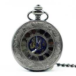 Chinese  Antique Skeleton Blue Roman Numerals Dial Black Alloy Case Mechanical Hand Wind Long Fob Chain Clock Men Pocket Watch PJX1244 manufacturers