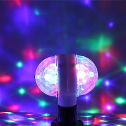 Magic Rotating Lamp Australia - E27 RGB LED Stage Bulb Crystal magic ball lamp Auto Rotating Magic Ball light Disco Lighting Shower Double Head