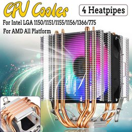 Intel Cpu Fans Australia - 4 Heatpipe RGB LED CPU Cooler Fan Dual Tower 12V Cooler Cooling Fan Heat Sink for Intel LAG 1155 1156 775 for AMD Socket AM3 AM