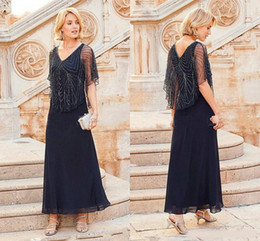 $enCountryForm.capitalKeyWord NZ - 2019 Mother Off Bride Dresses Chiffon Navy Blue V Neck Beading Short Sleeves Ankle Length With Wrap Cape Plus Size wedding guest dress