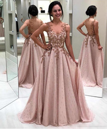 Pink long crystal Prom dress online shopping - 2019 Sheer Crew Neck Lace Long Prom Dresses Tulle Lace Applique Beaded Seen Through Back Floor Length Formal Party Evening Gowns BC2096
