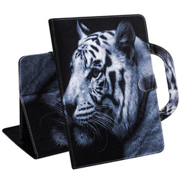 Stands For Tablets UK - Tablet Case For Amazon Kindle Paperwhite 1 2 3 4 Handle Flip Cover Stand Leather Wallet Coloured drawing Tiger Lion wolf Coque