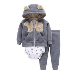 Winter Baby Fleece Suit Australia - Baby Boy Clothes Cartoon Fleece Jacket+bodysuit+pant Newborn Set Girl Outfit Autumn Winter Suit Infant Clothing Fashion Costume Q190521