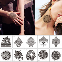 art arm Australia - Henna Flower Lace Hollow Temporary Tattoo Sticker for Woman Man Hands Neck Arm Body Art Design Vintage Waterproof Small Fashion Tattoo Decal