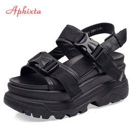 $enCountryForm.capitalKeyWord Australia - Aphixta 8cm Platform Sandals Women Wedge High Heels Shoes Women Buckle Leather Canvas Summer Zapatos Mujer Slippers Woman Sandal Y190706