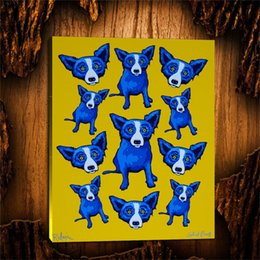 Group Oil Australia - Blue Dog Group Therapy -1,1 Pieces Canvas Prints Wall Art Oil Painting Home Decor (Unframed Framed) 24X32.