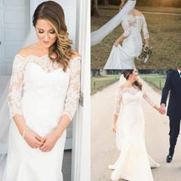 4a22b273ae Shop Shoulder Sleeve Satin Wedding Dress UK | Shoulder Sleeve Satin ...