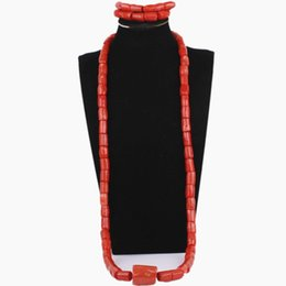 $enCountryForm.capitalKeyWord NZ - wholesale Orange or Red Jewellery Set African Genuine Real Coral Beads Jewelry Sets Nigerian Wedding Groom Bracelet Necklace
