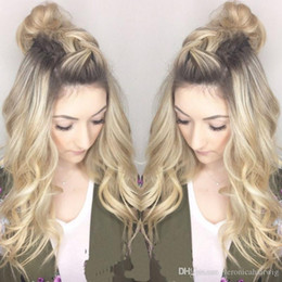 Discount loose body synthetic wigs - Free Shipping 26inch Ombre Blonde#27 Synthetic Fiber Hair Long Body wave Free Part Baby Hair Heat Resistant Dark Roots S
