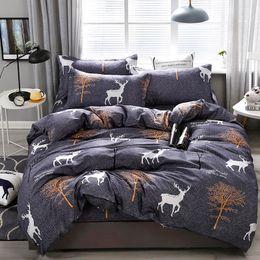 Discount deer bedding sets - Aloe Cotton Trees Deer Pattern Bedding Set Soft Skin-friendly Duvet Cover & Flat Bed Sheet & Pillowcase Home Textile Who