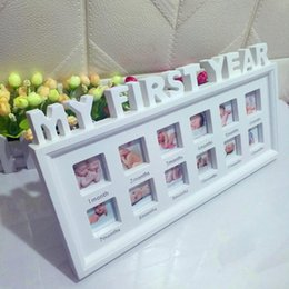 Photos babies online shopping - Cute Baby Photo frame DIY handprint or footprint Months Photo Frame Baby Boy Girl My One Year White Blue Pink Home Decor