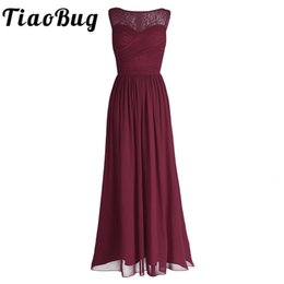 $enCountryForm.capitalKeyWord UK - Tiaobug Women Ladies Chiffon Empire Lace Bridesmaid Dress Prom Gown Sleeveless A-line Pleated Padded Long Wedding Party Dresses J190425