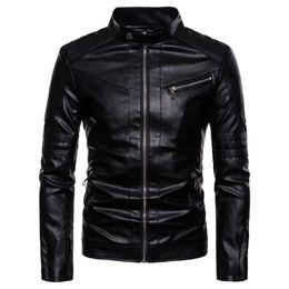 Washing Motorcycle Jacket Australia - 2019 Brand Man Zipper Washed Motorcycle Stand Collar Pu Leather Jacket Jaqueta Masculinas Jacket Men Black Coat