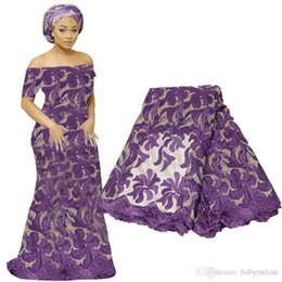 venda por atacado Mais recente tecido de renda francesa Guipure Africano Lace Voile para vestido de festa de casamento Bordado floral Material de renda nigeriana BF0006