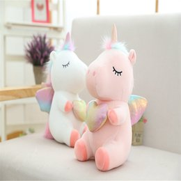 unicorn doll toy UK - 1pcs 25cm Kawaii Fat Rainbow Fluffy Tail Unicorn Plush Animal Stuffed Toys Children Soft High Quality Toy Girl Gift