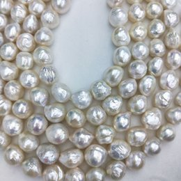 white freshwater pearl strand necklace UK - Wholesale high quality loose beads 12x15mm high luster ripple edison freshwater pearl beaded strands
