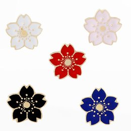 cherry blossom gifts UK - Cartoon Cherry Blossoms Flower Brooch Enamel Pins Button Clothes Jacket Bag Pin Badge Fashion Jewelry Gift for girls