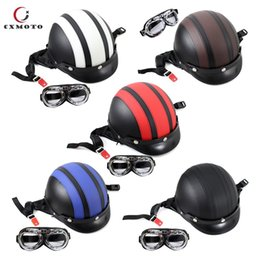 Goggles For Half Helmets Australia - High quality ABS & PU Leather Motorcycle Open Half Face Helmets With Motorcycle Goggles for Sale