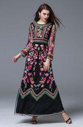 $enCountryForm.capitalKeyWord Australia - 19ss women dresses High Quality New Arrival Autumn O Neck Long Sleeves Embroidery Designer Elegant Maxi Runway Dresses in 2 Colors