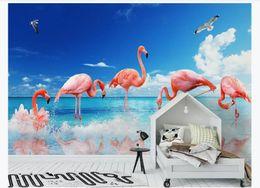 $enCountryForm.capitalKeyWord Australia - 3D wallpaper custom photo Silk mural wallpaper Modern minimalist small fresh sea flamingo children's room background wall home decoration