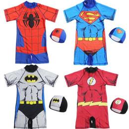 0e00892e968c6 2-11 years baby boys one-piece swimsuit with cap spiderman Captain America  Hulk Iron Man super hero children boy bathing suit kids swimwear