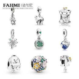 Globe Glasses Australia - FAHMI 100% 925 Sterling Silver New 1:1 Flower Adventure Bag Carousel Watering Can beads Four-Leaf Clover Globe Hanging Charm DIY Jewelry