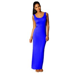 Chinese  INS Solid Color Women Long Night Skirt Spaghetti Sexy Tank Dress Summer Maxi Dresses Fashion Sleeveless Bodycon Beach Party Dress A32001 manufacturers