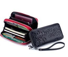 Hand pocket organizer online shopping - 2019 new fashion Genuine Leather bag of the European and American mobile phone bag double zipper lady hand bag zero purse