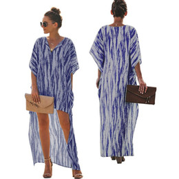 ladies printed beach clothes Canada - Batwing Sleeve Women Dresses Designer Sexy Beach Dress Ladies Colorful Loose Printing Jumpsuit One Piece Clothing