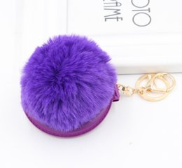$enCountryForm.capitalKeyWord Australia - 10colors Hot-selling Making-up Mirror Fur Ball Key Chain Korean Version New Hairball Key Chain for Girls bag Pendant 100pcs DHL HYS287