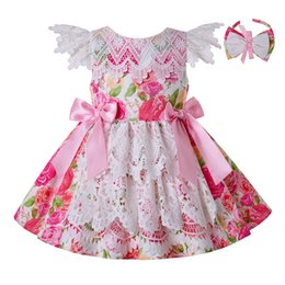 Girl short laces online shopping - Pettigirl Pink SummerGirl Dress Lace Layer Design Princess Dresses Flower printed With Bows And Headband Boutique Girl Clothes G DMGD203