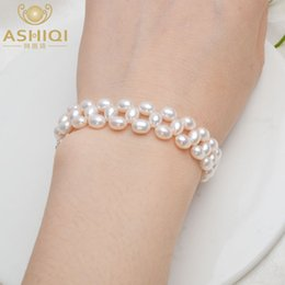 925 silver bracelet 5mm NZ - ASHIQI Genuine Natural Freshwater Pearl Bracelet 925 Sterling silver clasp 4.5-5mm pearl handmade Weaving for women