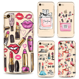 Chinese  Fashion Cosmetic Lipstick Makeup Phone Case For iPhone Xs Max Xr X 8 6 Plus 5 5S 7 Transparent Soft Silicone Cell Cover Ypf31-26 manufacturers
