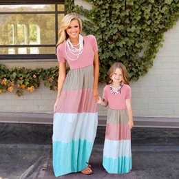 $enCountryForm.capitalKeyWord NZ - Mvupp Mother Daughter Dresses Family Matching Clothes Short Sleeve Patchwork Striped Elastic Waist Baby And Mom Summer Dress Y19051103