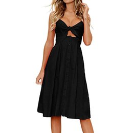 $enCountryForm.capitalKeyWord UK - Sexy Women dress Holiday style lovely Bowknot Lace Up Ladies Summer Beach Buttons Party Dresses Vestido Robe Femme