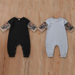 baby boy black clothes 2019 - Baby Boy Clothes Tattoo Sleeve Infant Boys Romper Patchwork Newborn Jumpsuit Spring Autumn Baby Clothing Black Grey DW46