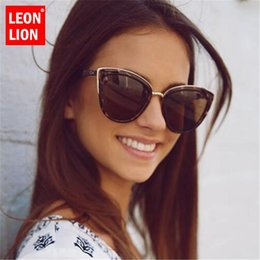 shop for sunglasses UK - Leonlion 2019 Fashion Cateye Sunglasses Women Vintage Metal Eyewear For Women Mirror Retro Shopping Oculos De Sol Feminino Uv400 EfBOc