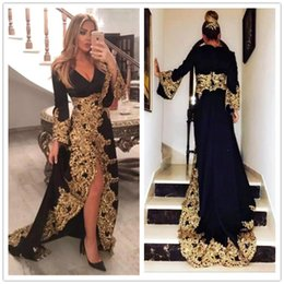93fdba28af3 Black Arabic Muslim Evening Dresses with Lace Appliques Long Sleeves 2019  Gold Embroidery Formal Celebrity Gowns Split Prom Dress