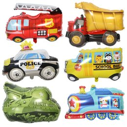Wholesale DIY Cartoon Car Balloons Fire Truck Car Train Foil Balloon Ambulance Globos Children Gifts Birthday Party Decorations Kids balls