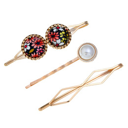 Chinese  5 style Personality combination hair clip small fresh pearl color painting word clip women hair accessories Gift for family, friends. manufacturers