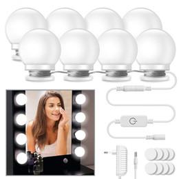Wall Curtains UK - 10Pcs Makeup Mirror Vanity LED Light Bulbs lamp Kit 3 Levels Brightness Adjustable Lighted Make up Mirrors Cosmetic lights Wall lamps