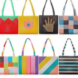 $enCountryForm.capitalKeyWord Australia - Ins Popular Bead Bag Rainbow Hand-woven Pearl Celebrity Handbag Europe United States Unique Design Colourful Ladies Party Bag