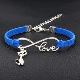 $enCountryForm.capitalKeyWord NZ - 2018 Bohemia Dark Blue Leather Suede Cuff Jewelry Female Fashion Infinity Love Cute Cat Pendant Wrap Bracelets & Bangles For Women Men Femme
