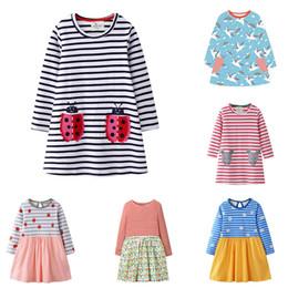 Geometric desiGn lonG dresses online shopping - Girl Striped A line Dress Design Autumn Long Sleeve Cartoon Animal Printed Dress Kids Designer Clothing Girls Casual Outfits T